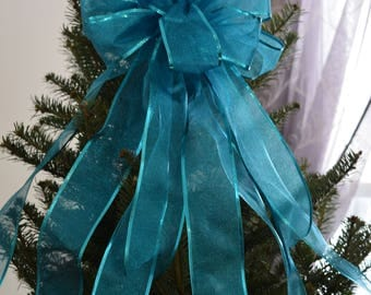 Turquoise Shimmer Bow, Tree Topper Bow, Christmas Bow, Wreath Bow, Light Post Bow