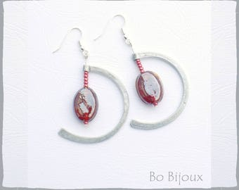 red glass pearl and metal earrings