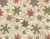 Living Lodge Christmas Fabric 1 Yard Cut, Natural Wilderness Scroll by Bristol Bay Studios and Benartex Fabrics, Benartex 01477