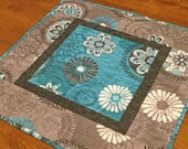 Teal and Gray Quilted Table Topper, Teal Table Runner, Teal Decor, Teal Table Mat, Modern Table Topper, Unique Hostess Gift