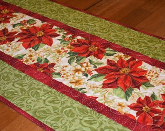 Christmas Poinsettia Table Runner, Quilted Christmas Table Runner, Red and Green Table Runner, Holiday Table Runner, Holiday Decor