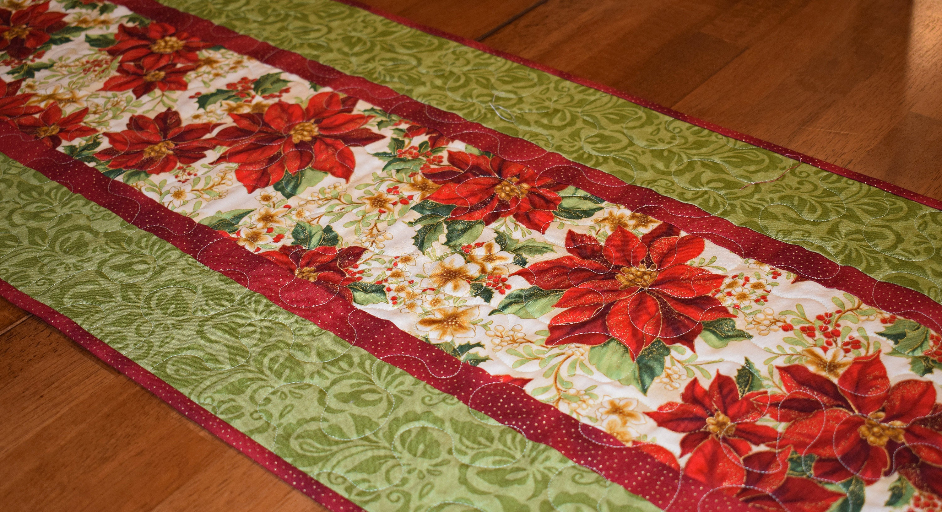 Christmas Poinsettia Table Runner Quilted Christmas Table