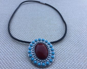 Turquoise and red necklace.necklace, silver necklace,silver jewelry,handmade necklace, silver,jewelry,fashion jewelry,pendant