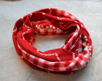 Extra long cotton fleece red and white Christmas eternity scarf Gift for women and teens