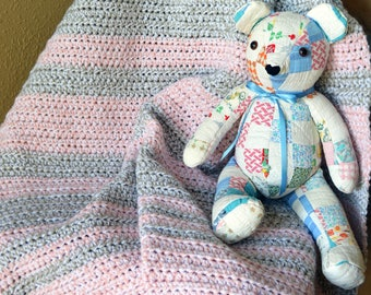 Pink-Gray-White Crochet Baby Blanket; Striped baby blanket