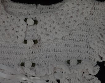 White Crochet Dress with Ribbon Roses - Baby Girl