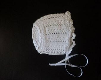White Cotton Crochet Bonnet Baby Girl
