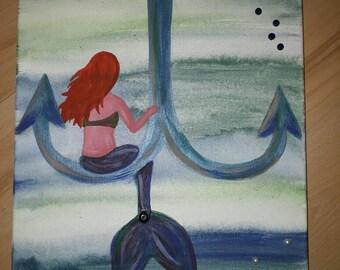 Mermaid mystical sea painting on canvas