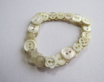 Off white upcycled button bracelet