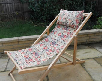Vintage Deckchair with Floral Seat Cover