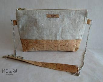 Handbag made with natural cork leather and silver / linen