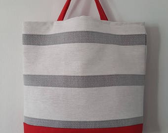 Striped cotton canvas handbag Red