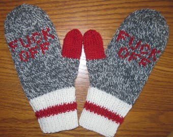 F*ck Off Mittens Hand Knit Wool  Charcoal Marl Red Womans Mittens Free US Shipping
