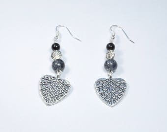Earrings dangle silver and black