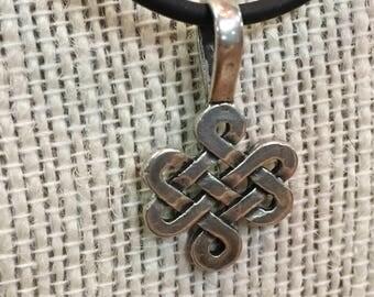 Sterling Silver Celtic Knot Pendant Black Cord Necklace