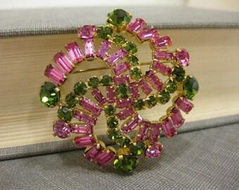 Fabulous Pink & Green Austrian Crystal Widdershins Spiral Brooch