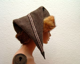 Cap, Medieval, Viking, Rus, Brettchenborte, fur Fuchs genuine, size 61, wool burr, linen, Birka