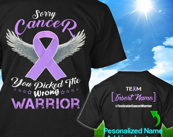 Personalized Testicular Cancer Awareness Tshirt Orchid Ribbon Warrior Support Survivor Custom T-shirt Apparel Unisex Women Youth Kids Tee