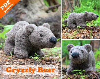 Stuffed animal pattern - Grizzly bear PDF sewing pattern. DIY toy - pattern & tutorial.