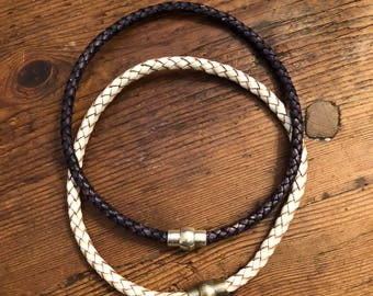 Single braided leather choker with magnetic clasp