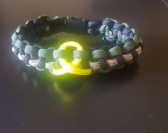 Support The Troops yellow ribbon paracord bracelet