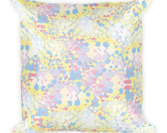 Square Pillow — Yellow Blue Pink