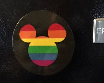 Gay Pride Mickey Mouse Refrigerator Magnet, Pride Mickey Mouse Ears, Rainbow Mickey Mouse, Magnet, Gay Pride, Gay Disney Art, Gay Pride Art