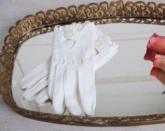Vintage White Vintage Cotton Driving Gloves