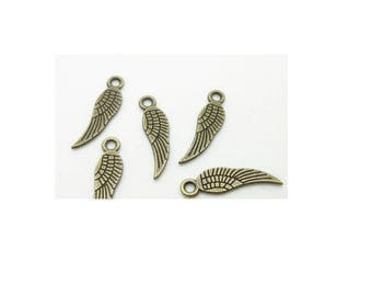 set of 10 charms small wing color bronze (T07)