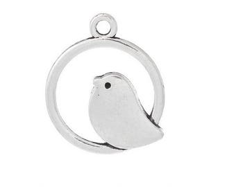 SET of 3 charms in Silver Circle (B65) bird
