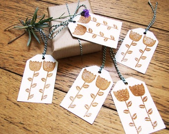 5 GIFT TAGS. stamped by hand. Scandinavian flower pattern. set of 5 tags with strings