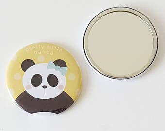 Pocket Mirror | Panda Gift | Hand Mirror | Round Mirror | Compact Mirror | Birthday Gift | Bridesmaid Gift | Animal Lover | Cute Gift