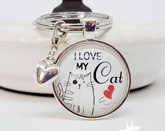 Cat Keychain charms, cat Keychain, cat, gift for cat fan, cat owners