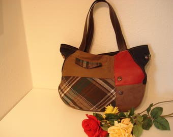 Recycling jeans, synthetic leather and wool Tote Bag