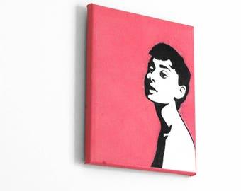 Audrey Hepburn Wall Art, Spray Paint Art, Original Painting, Canvas Art