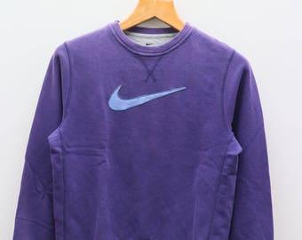 Vintage NIKE Big Logo Sportswear Purple Sweater Sweatshirt Size L
