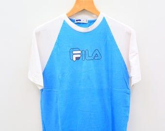 Vintage FILA Sportswear Ringer Casual Blue Tee T Shirt Size M