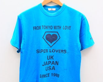 Vintage SUPER LOVER From Tokyo With Love Uk Usa Japanese Shōnen-ai Manga Series Published In Magazine Blue Tee T Shirt