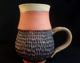 Handmade Earthenware Carved Mug