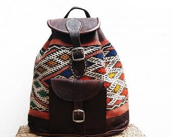 Small Moroccan bag / Boho bag / Traveling boho bag / Kilim bag / Carpet bag / Leather bag