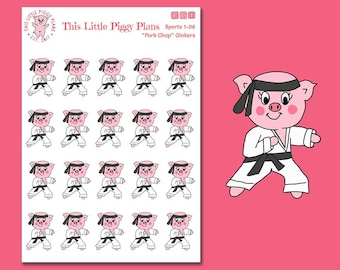 Pork Chop Oinkers - Karate Planner Stickers - Karate Stickers - Pork Chop Stickers - Planner Stickers - Pigs - Karate - [Sports 1-06]