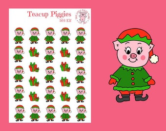 Teacup Piggies - Elf Oinkers - Mini Planner Stickers - Elf Planner Stickers - Christmas Stickers - Holiday Stickers - Xmas Stickers - [503]