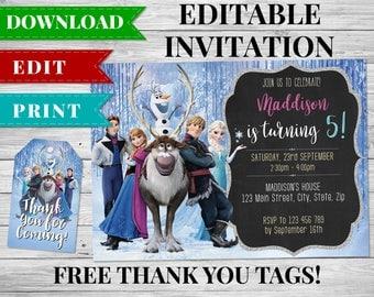 Frozen Invitation, Frozen Birthday Invitation, Frozen Birthday Printable, Frozen Birthday Party Favors, Frozen Thank You Tags, Elsa, Anna