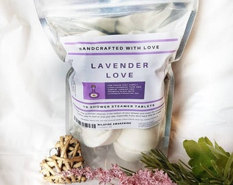 Aromatherapy Shower Steamer/Melt 10 Pack, Lavender Love, bed time, lavender, valentines, gift for him, time saver, made with love