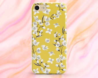 Floral Phone Case, iPhone 8 Plus Case, iPhone X Case, iPhone 8 Case, Flower phone case, Yellow Phone Case, iPhone 7 Case, White Flowers