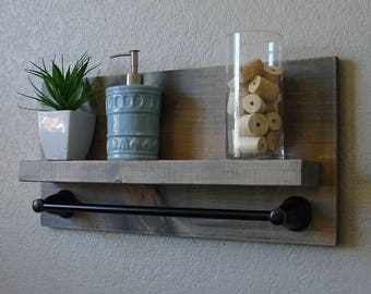 Rustic Bathroom Shelf with Dark Bronze Towel Bar
