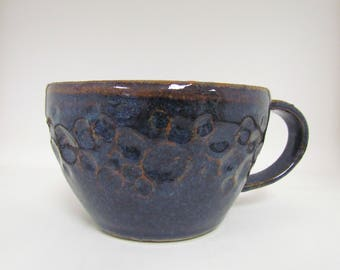 Hand Carved Dark Blue Ceramic Mug / Teacup