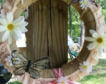 Peach daisy wreath