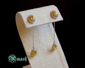 925 Sterling Silver Simulated yellow diamond Earrings,Wedding earrings long drop Dangle Chandelier,hoops theeader..Christmas SALE  30% OFF