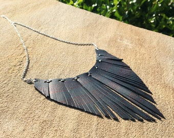 black leather bib necklace black leather collar necklace leather fringe necklace genuine leather statement necklace boho style necklace